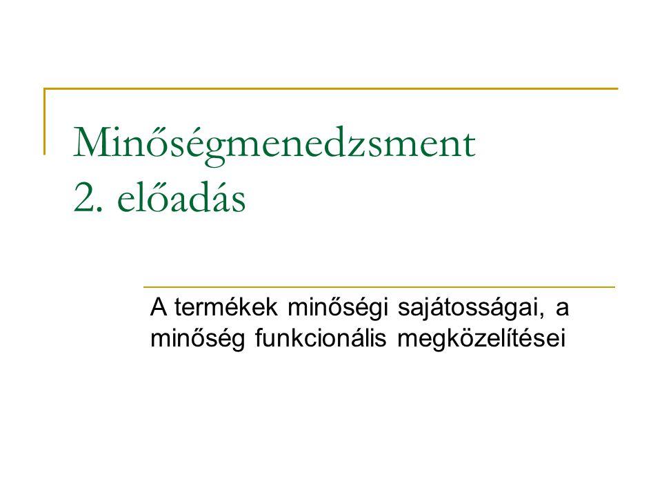 Minőségmenedzsment 2. előadás A termékek minőségi sajátosságai, a minőség funkcionális megközelítései
