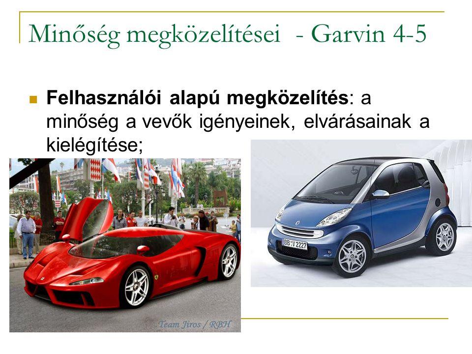 Minőség megközelítései - Garvin 4-5 Felhasználói alapú megközelítés: a minőség a vevők igényeinek, elvárásainak a kielégítése;