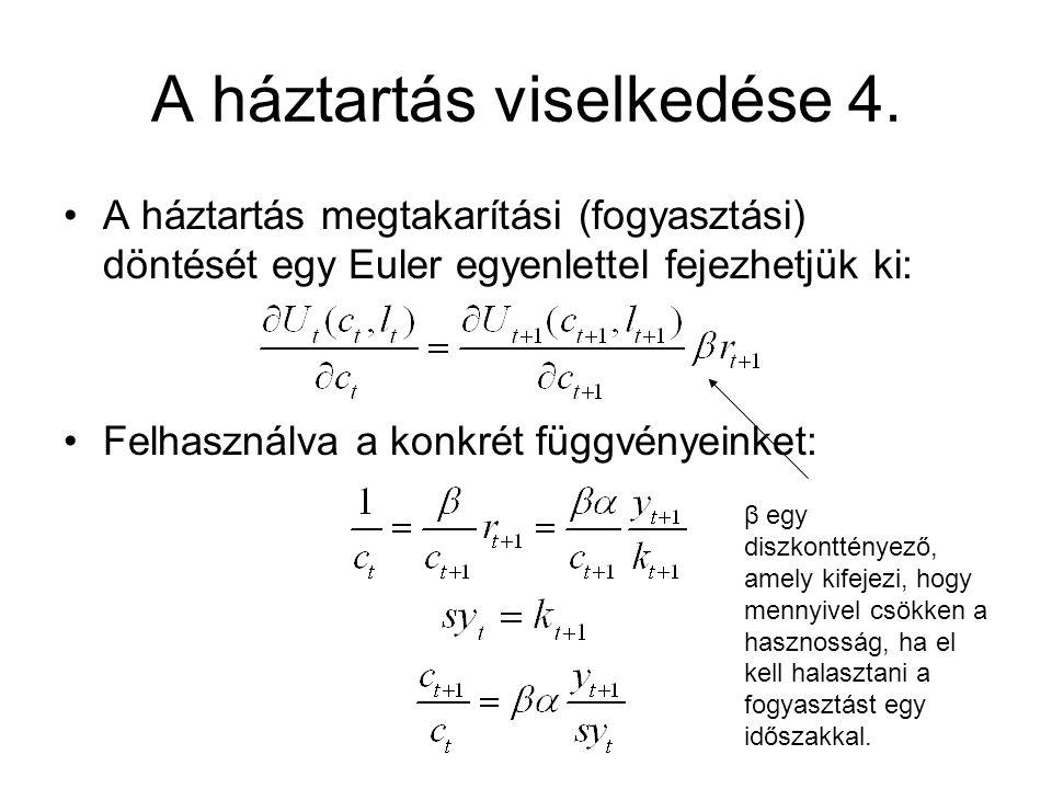 A háztartás viselkedése 4. A háztartás megtakarítási (fogyasztási) döntését egy Euler egyenlettel fejezhetjük ki: Felhasználva a konkrét függvényeinke