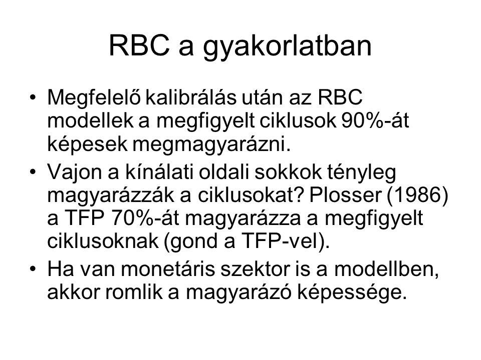 RBC a gyakorlatban Megfelelő kalibrálás után az RBC modellek a megfigyelt ciklusok 90%-át képesek megmagyarázni. Vajon a kínálati oldali sokkok tényle