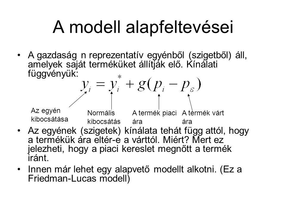 A modell alapfeltevései A gazdaság n reprezentatív egyénből (szigetből) áll, amelyek saját terméküket állítják elő. Kínálati függvényük: Az egyének (s
