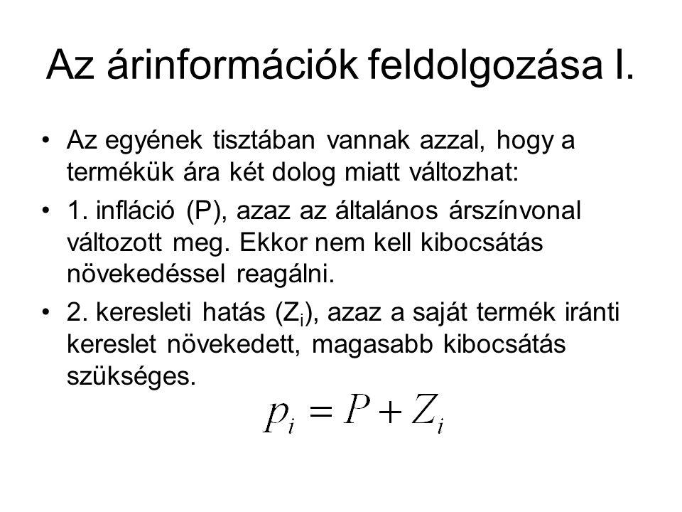 Az árinformációk feldolgozása I. Az egyének tisztában vannak azzal, hogy a termékük ára két dolog miatt változhat: 1. infláció (P), azaz az általános