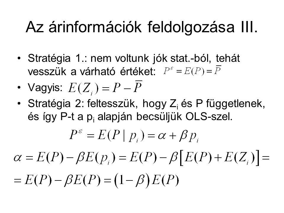 Az árinformációk feldolgozása III. Stratégia 1.: nem voltunk jók stat.-ból, tehát vesszük a várható értéket: Vagyis: Stratégia 2: feltesszük, hogy Z i