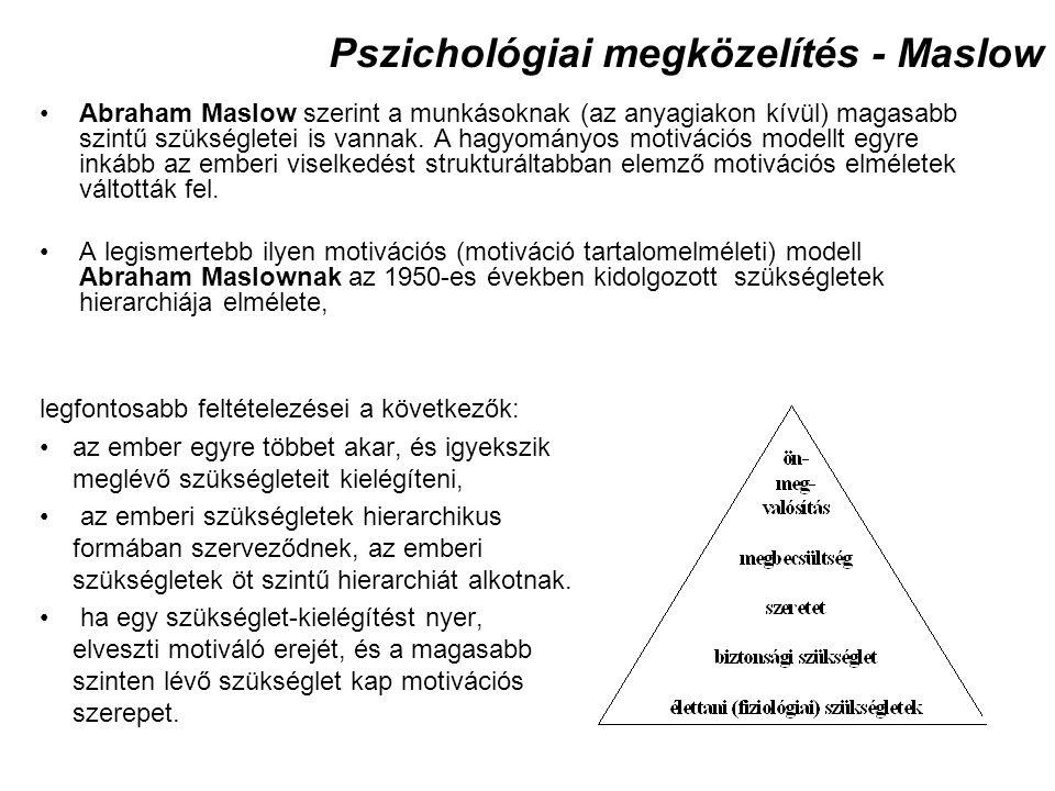 Pszichológiai megközelítés - Maslow legfontosabb feltételezései a következők: az ember egyre többet akar, és igyekszik meglévő szükségleteit kielégíte