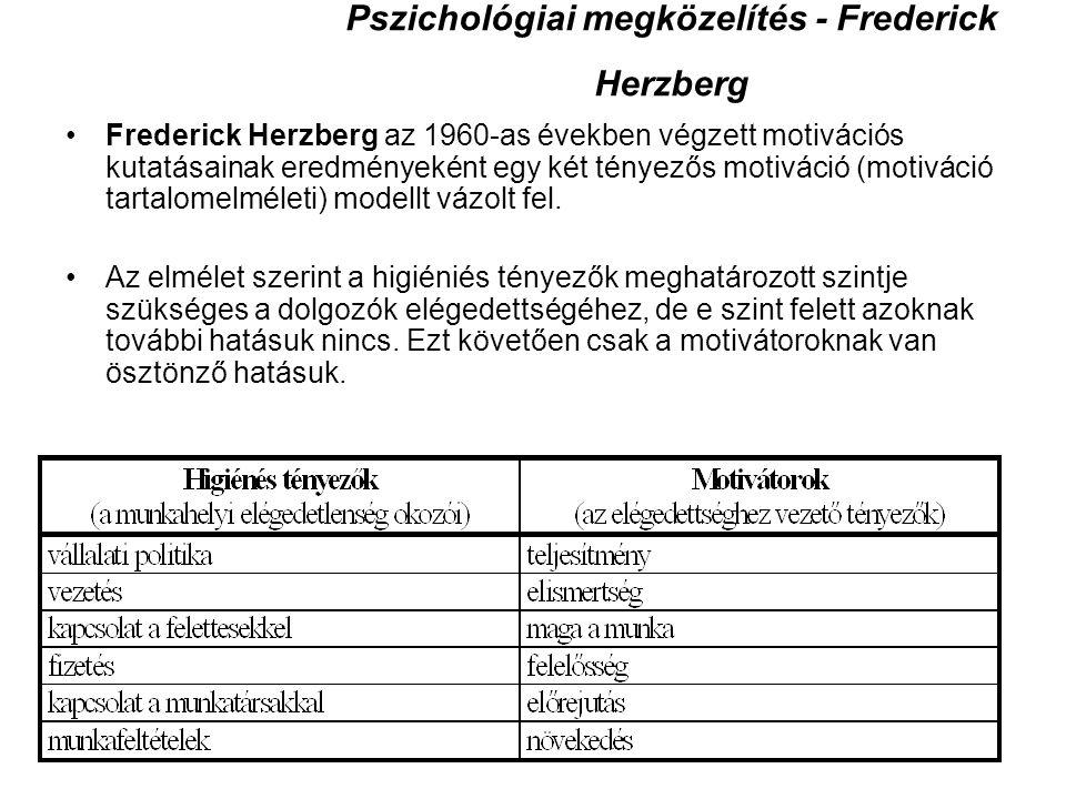 Pszichológiai megközelítés - Frederick Herzberg Frederick Herzberg az 1960-as években végzett motivációs kutatásainak eredményeként egy két tényezős m