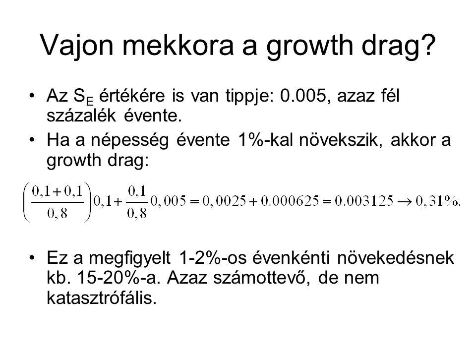 Vajon mekkora a growth drag. Az S E értékére is van tippje: 0.005, azaz fél százalék évente.