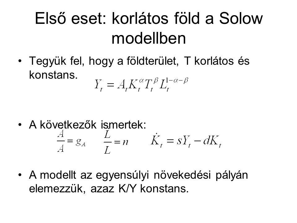 Első eset: korlátos föld a Solow modellben Tegyük fel, hogy a földterület, T korlátos és konstans.