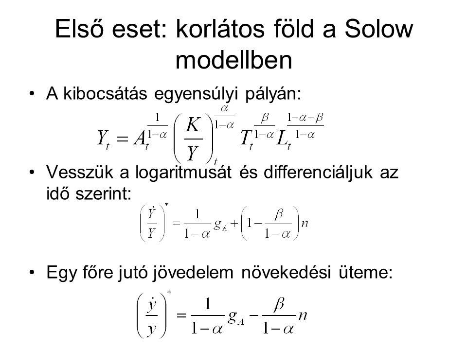 Első eset: korlátos föld a Solow modellben A kibocsátás egyensúlyi pályán: Vesszük a logaritmusát és differenciáljuk az idő szerint: Egy főre jutó jövedelem növekedési üteme: