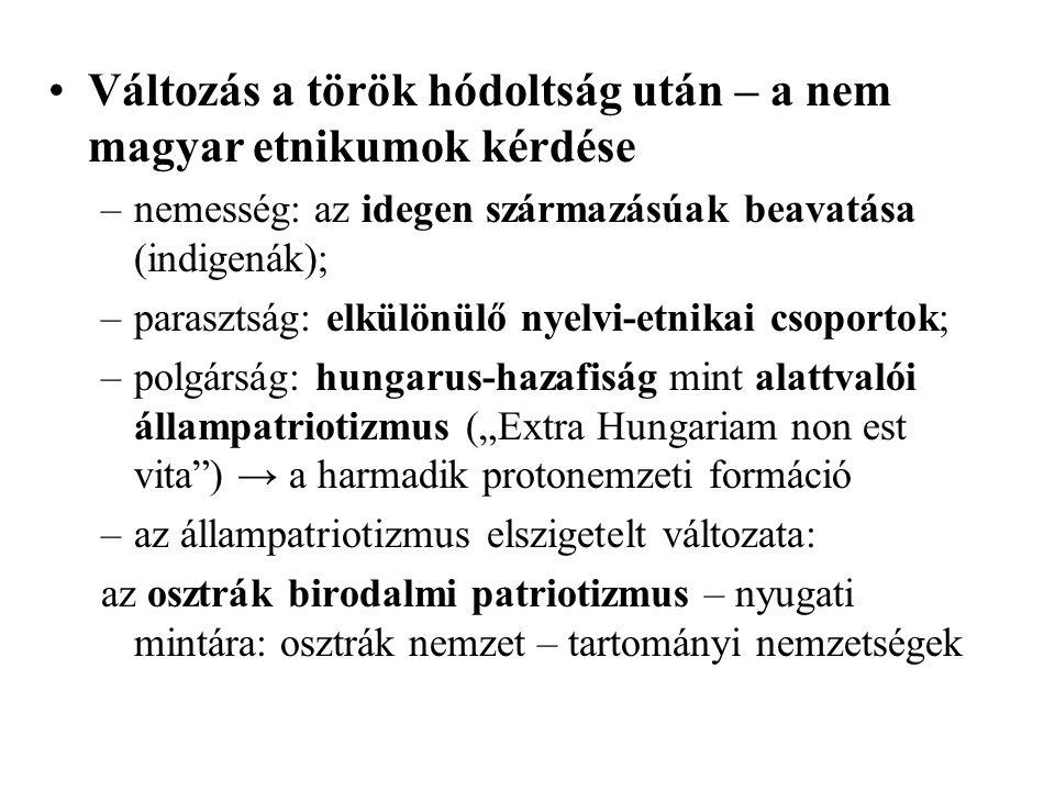 Változás a török hódoltság után – a nem magyar etnikumok kérdése –nemesség: az idegen származásúak beavatása (indigenák); –parasztság: elkülönülő nyel