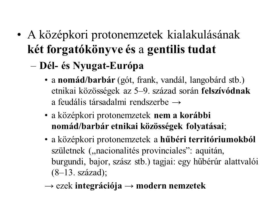 A középkori protonemzetek kialakulásának két forgatókönyve és a gentilis tudat –Dél- és Nyugat-Európa a nomád/barbár (gót, frank, vandál, langobárd stb.) etnikai közösségek az 5–9.