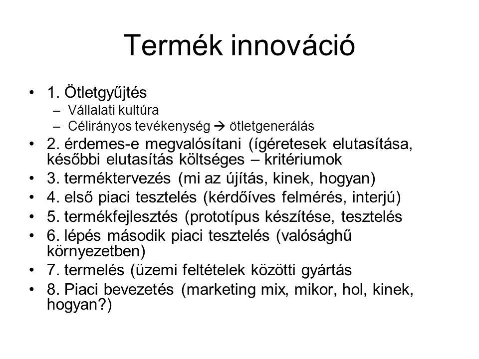 Termék innováció 1. Ötletgyűjtés –Vállalati kultúra –Célirányos tevékenység  ötletgenerálás 2. érdemes-e megvalósítani (ígéretesek elutasítása, későb