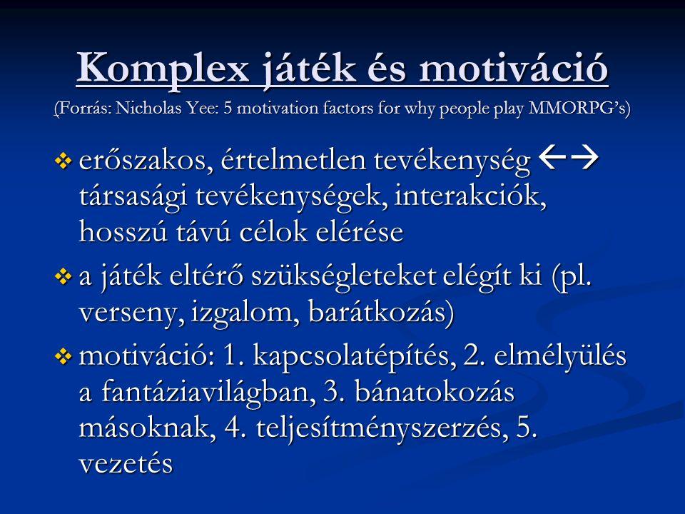 Komplex játék és motiváció (Forrás: Nicholas Yee: 5 motivation factors for why people play MMORPG's)  erőszakos, értelmetlen tevékenység  társasági