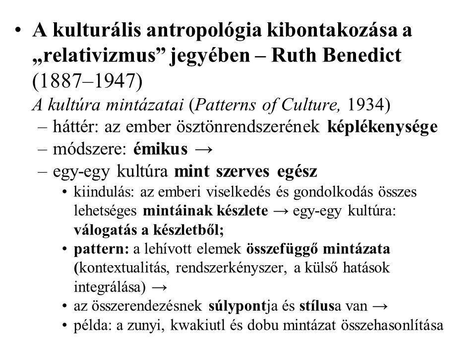 A kulturális antropológia mint a kulturális szimbólumrendszer interpretációjának elmélete: Clifford Geertz (1926– 2006) The Interpretation of Cultures (Kultúrák értelmezése, 1973) –a kultúra mint szimbólumokban megtestesülő jelentések hálója az értelmezés kényszere → az értelem elvileg minden lehetséges tapasztalatot behálóz –kulturális relativizmus (tkp.