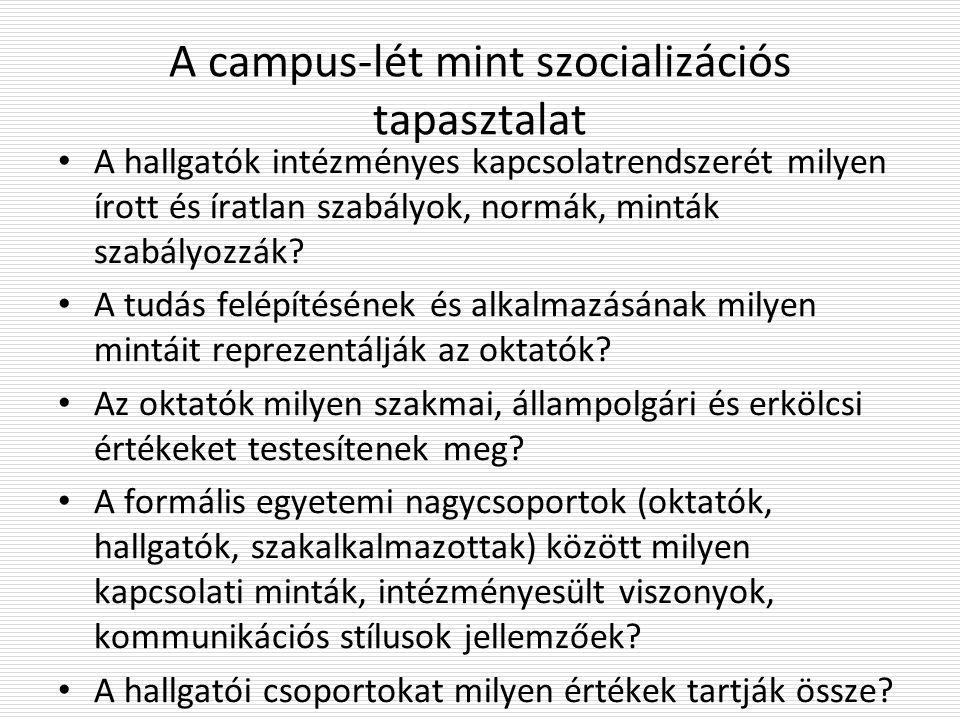 A campus-lét mint szocializációs tapasztalat A hallgatók intézményes kapcsolatrendszerét milyen írott és íratlan szabályok, normák, minták szabályozzák.