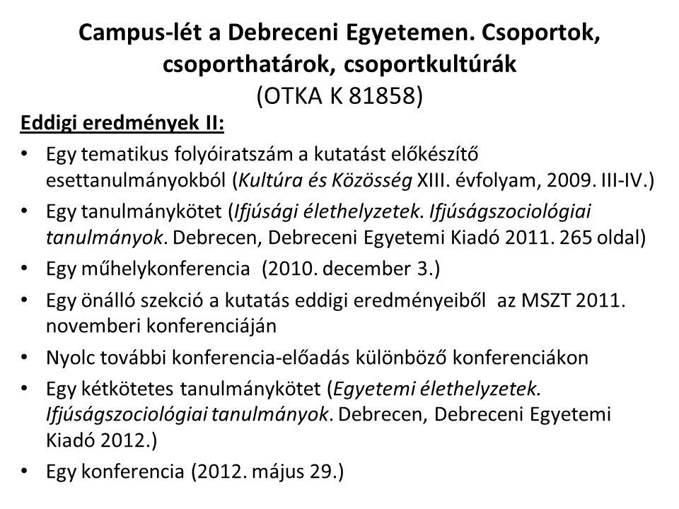 Campus-lét a Debreceni Egyetemen. Csoportok, csoporthatárok, csoportkultúrák (OTKA K 81858) Eddigi eredmények II: Egy tematikus folyóiratszám a kutatá