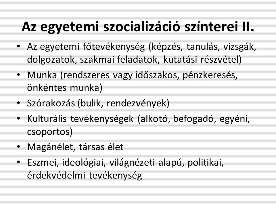 Az egyetemi szocializáció színterei II.