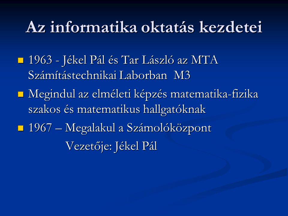 Az informatika oktatás kezdetei 1963 - Jékel Pál és Tar László az MTA Számítástechnikai Laborban M3 1963 - Jékel Pál és Tar László az MTA Számítástech