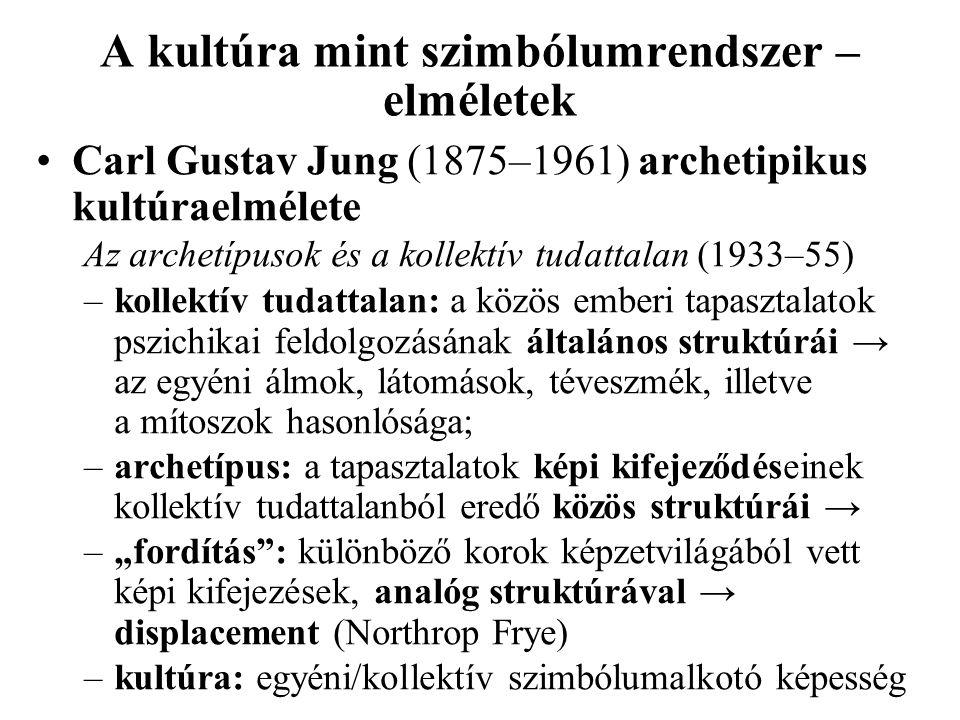 A kultúra mint szimbólumrendszer – elméletek Carl Gustav Jung (1875–1961) archetipikus kultúraelmélete Az archetípusok és a kollektív tudattalan (1933