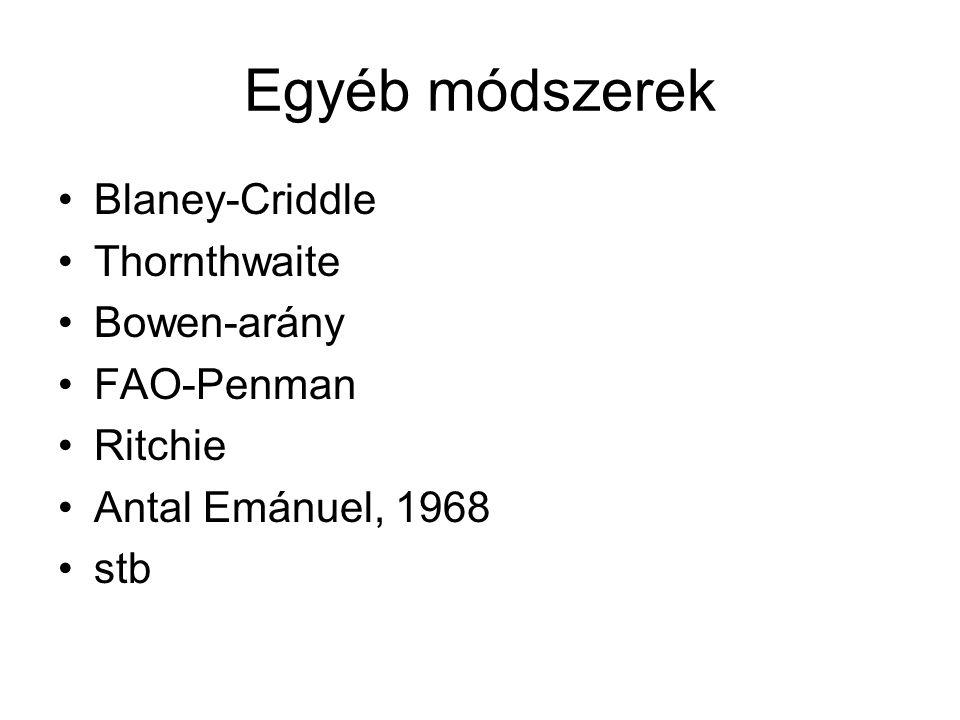 Egyéb módszerek Blaney-Criddle Thornthwaite Bowen-arány FAO-Penman Ritchie Antal Emánuel, 1968 stb
