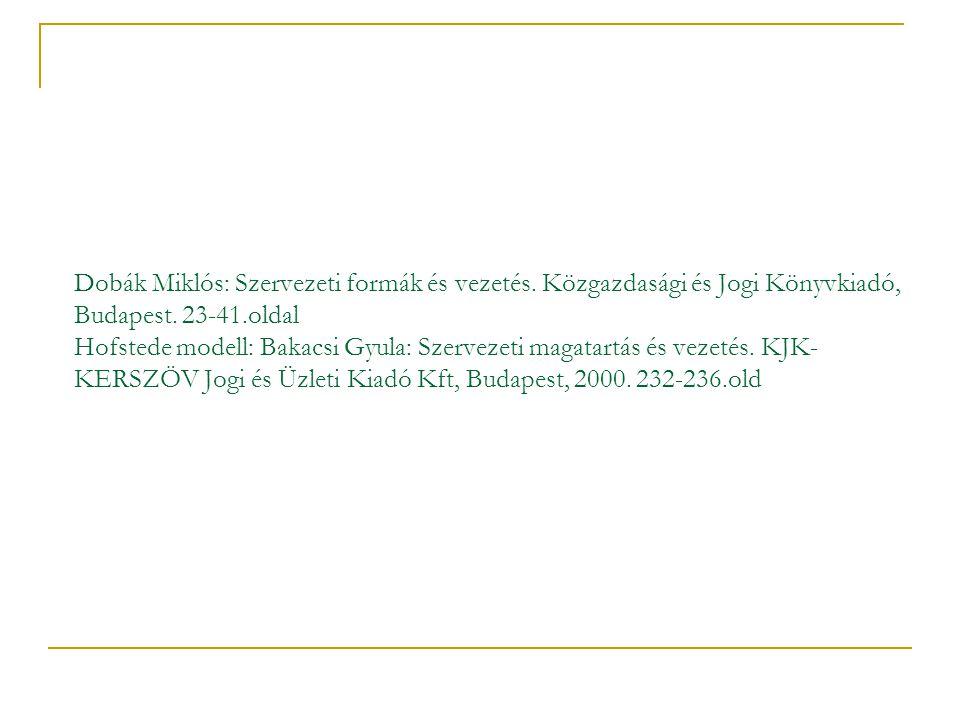 Dobák Miklós: Szervezeti formák és vezetés. Közgazdasági és Jogi Könyvkiadó, Budapest. 23-41.oldal Hofstede modell: Bakacsi Gyula: Szervezeti magatart