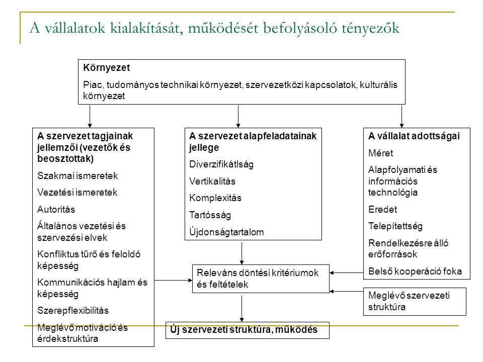 Piaci környezet Változékonyság  Dinamikus  Statikus Komplexitás  Egyszerű  Összetett Korlátozó hatás Bizonytalanság