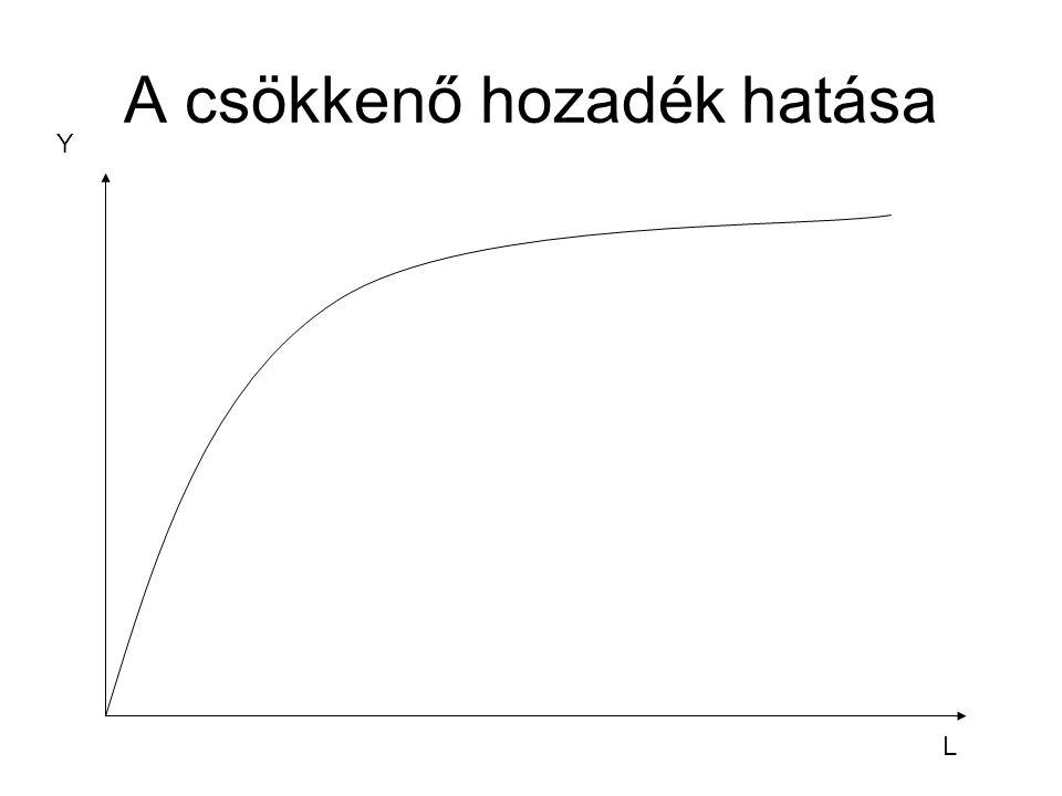 A csökkenő hozadék hatása L Y