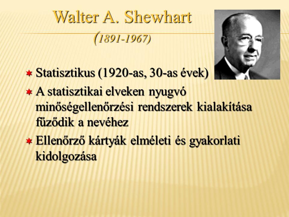 ¬ Statisztikus (1920-as, 30-as évek) ¬ A statisztikai elveken nyugvó minőségellenőrzési rendszerek kialakítása fűződik a nevéhez ¬ Ellenőrző kártyák e