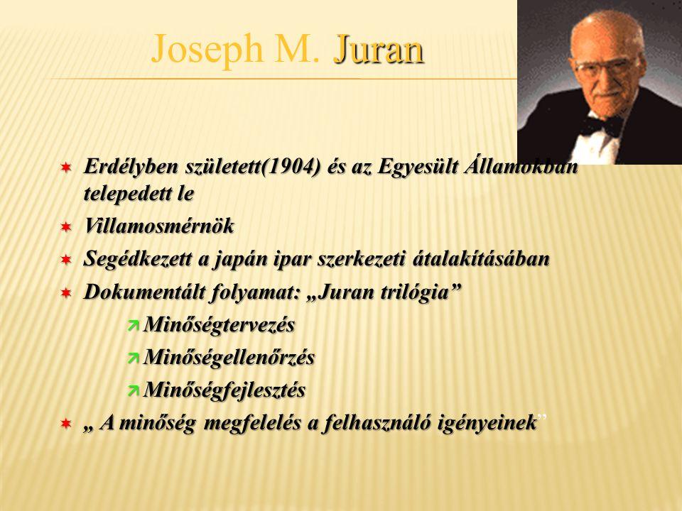 Juran Joseph M. Juran ¬ Erdélyben született(1904) és az Egyesült Államokban telepedett le ¬ Villamosmérnök ¬ Segédkezett a japán ipar szerkezeti átala