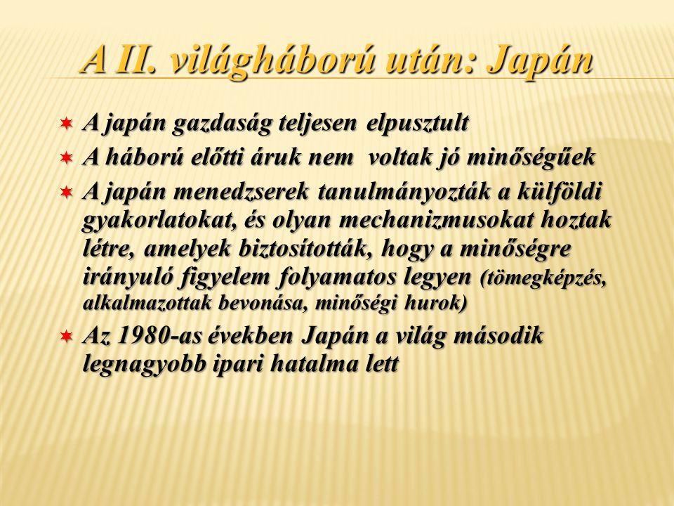 A II. világháború után: Japán ¬ A japán gazdaság teljesen elpusztult ¬ A háború előtti áruk nem voltak jó minőségűek ¬ A japán menedzserek tanulmányoz