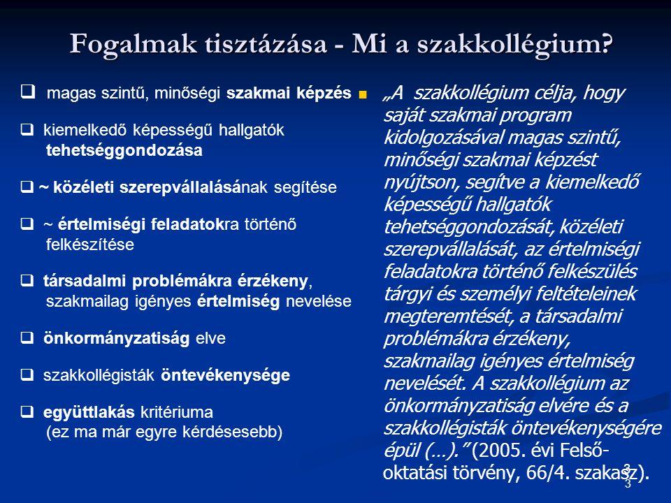 14 Az értékek megítélése szakkollégisták és nem szakkollégisták körében 1-4-ig terjedő skálán (TERD BA / BSc N=1361)