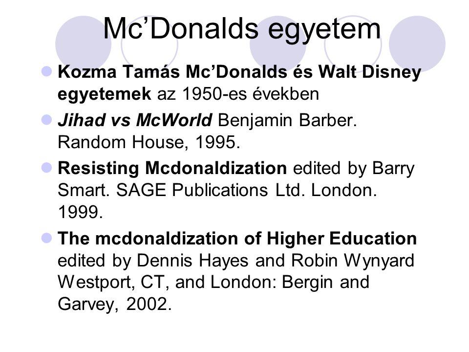 Mc'Donalds egyetem Kozma Tamás Mc'Donalds és Walt Disney egyetemek az 1950-es években Jihad vs McWorld Benjamin Barber.