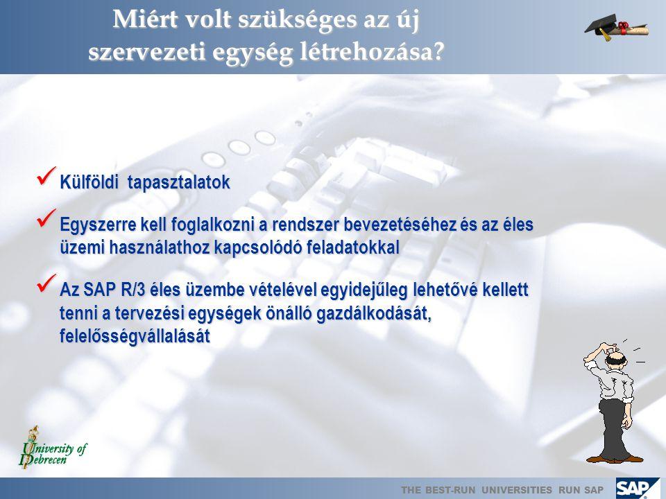 THE BEST-RUN UNIVERSITIES RUN SAP SAP Támogatói Főosztály  Működését megkezdi: 2006. február 1.  Létszáma: 5 főállású munkavállaló  Létrehozásának