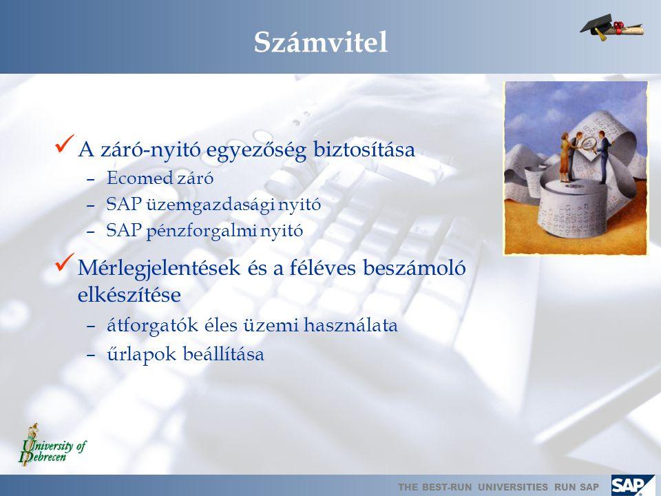 THE BEST-RUN UNIVERSITIES RUN SAP Alkalmazott dokumentáció  Nyitott kérdések táblázata  Le nem zárt fejlesztések táblázata  Migrációs ütemterv  Pr