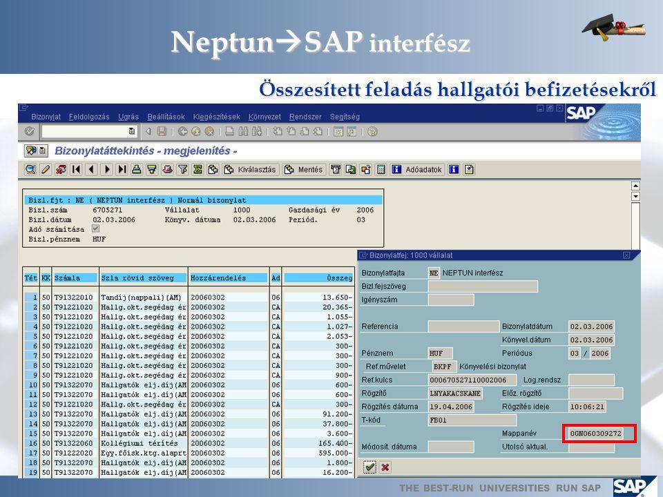 THE BEST-RUN UNIVERSITIES RUN SAP Neptun  SAP interfész Összesített feladás hallgatói befizetésekről