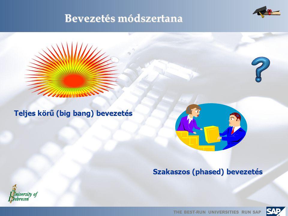 THE BEST-RUN UNIVERSITIES RUN SAP Bevezetés módszertana Teljes körű (big bang) bevezetés Szakaszos (phased) bevezetés