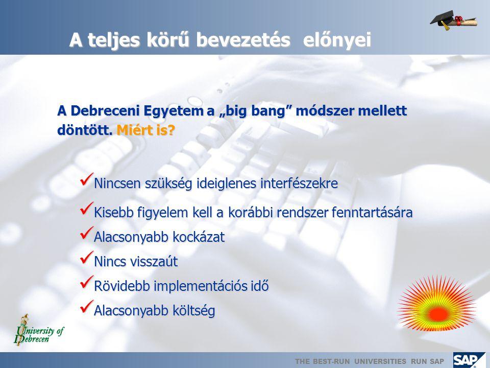 THE BEST-RUN UNIVERSITIES RUN SAP Minőségbiztosítás  A bevezetés során folyamatosan: SAP Hungary Kft.