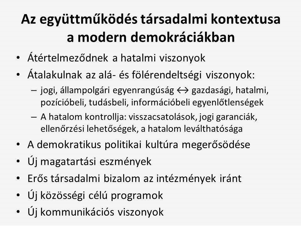 Az együttműködés társadalmi kontextusa a modern demokráciákban Átértelmeződnek a hatalmi viszonyok Átalakulnak az alá- és fölérendeltségi viszonyok: –