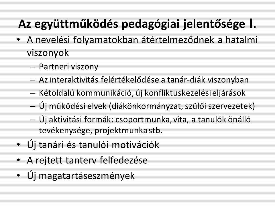 Az együttműködés pedagógiai jelentősége II.