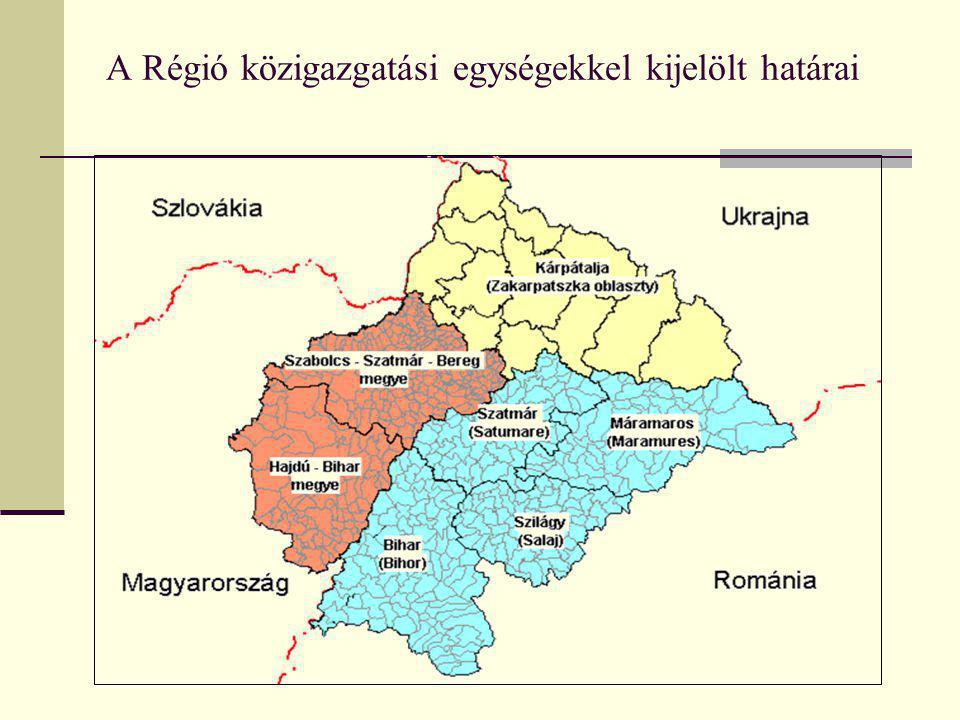 A vizsgált régió adatai (forrás: Népszámlálások 2001-2002) Terület [km²]Népességszám [fő]Magyar népesség [fő] Hajdú-Bihar 6.221552.998 Szabolcs-Szatmár-Bereg 5.937586.256582.256 Magyarország területéről 12.1581.135.254 Bihar 7.544600.246155.829 Máramaros 6.304510.11046.300 Szatmár 4.418367.281129.258 Szilágy 3.846248.01557.167 Románia területéről 22.1121.725.652388.554 Kárpátalja 12.8601.262.500152.250 Ukrajna területéről 12.8601.262.500152.250 Partium területén összesen 47.1304.123.4061.676.058