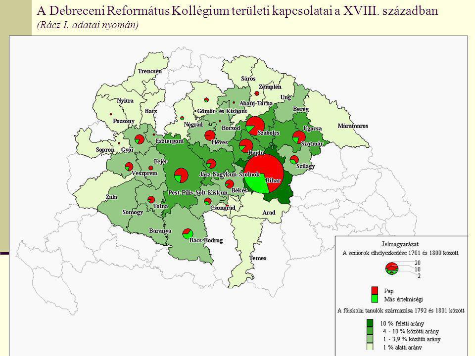 A Debreceni Református Kollégium területi kapcsolatai a XVIII. században (Rácz I. adatai nyomán)