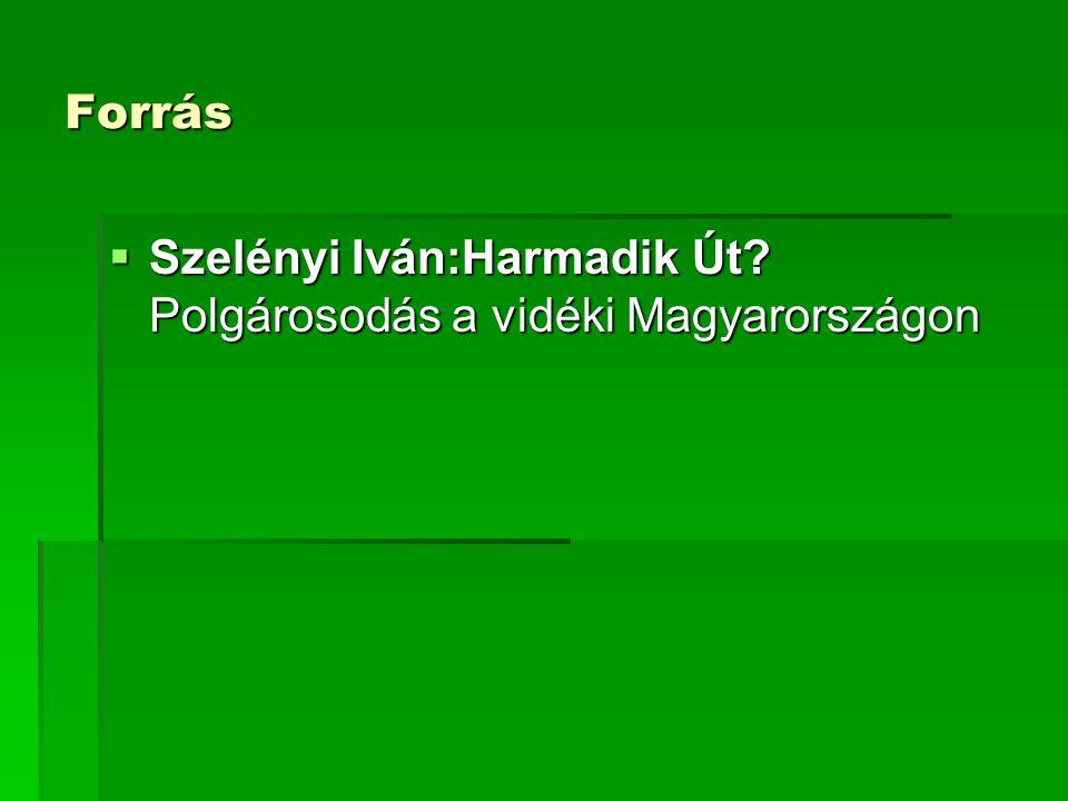 Forrás  Szelényi Iván:Harmadik Út? Polgárosodás a vidéki Magyarországon