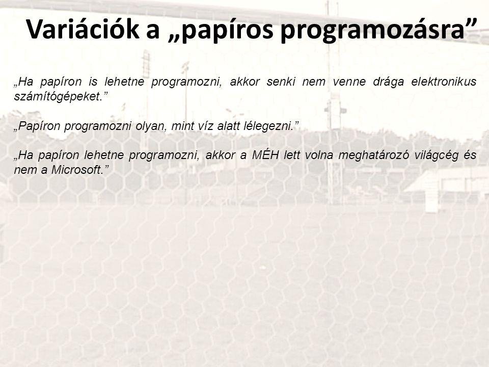 """Variációk a """"papíros programozásra"""" """"Ha papíron is lehetne programozni, akkor senki nem venne drága elektronikus számítógépeket."""" """"Papíron programozni"""