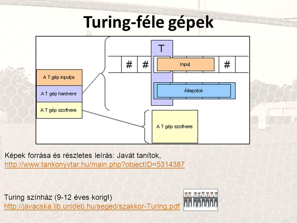 Turing-féle gépek Képek forrása és részletes leírás: Javát tanítok, http://www.tankonyvtar.hu/main.php?objectID=5314387 Turing színház (9-12 éves kori