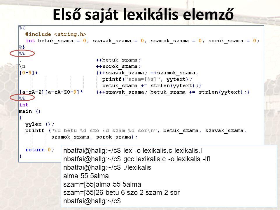 Első saját lexikális elemző nbatfai@hallg:~/c$ lex -o lexikalis.c lexikalis.l nbatfai@hallg:~/c$ gcc lexikalis.c -o lexikalis -lfl nbatfai@hallg:~/c$.
