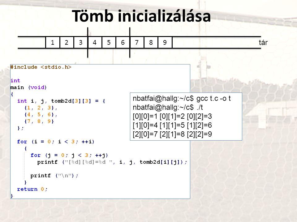 Tömb inicializálása tár 123456789 nbatfai@hallg:~/c$ gcc t.c -o t nbatfai@hallg:~/c$./t [0][0]=1 [0][1]=2 [0][2]=3 [1][0]=4 [1][1]=5 [1][2]=6 [2][0]=7