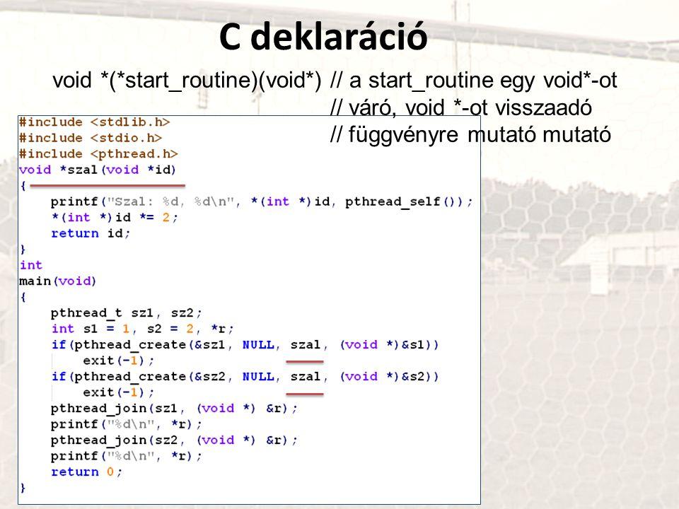 C deklaráció void *(*start_routine)(void*) // a start_routine egy void*-ot // váró, void *-ot visszaadó // függvényre mutató mutató