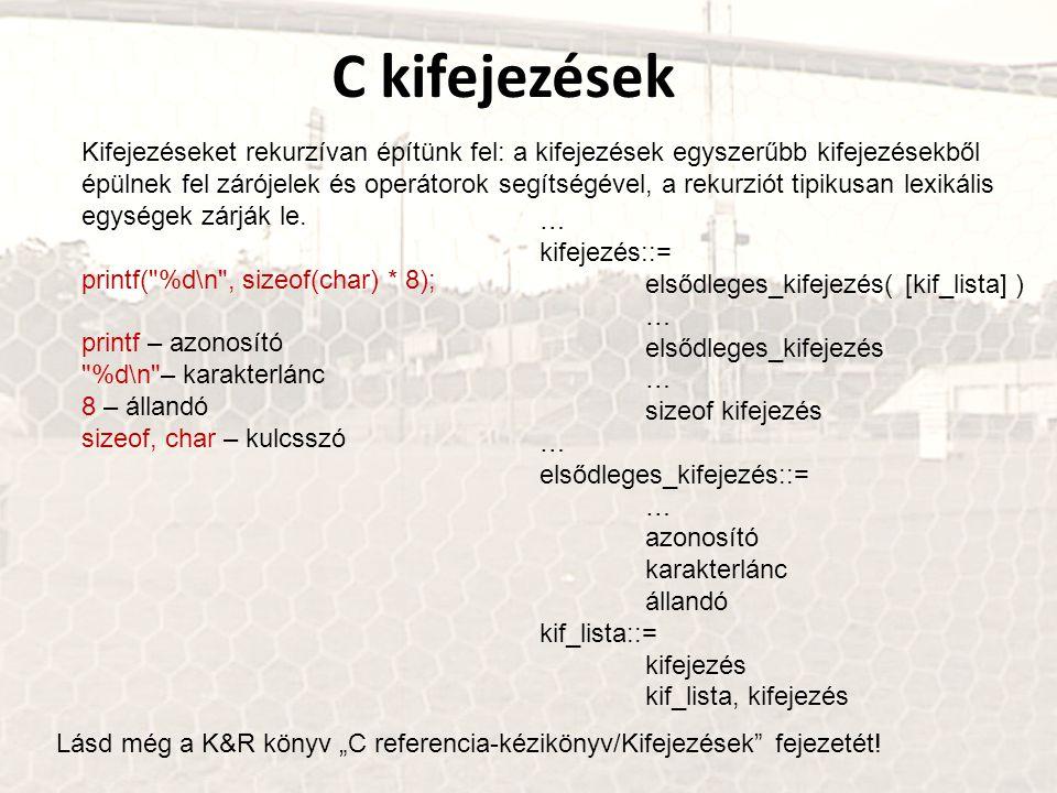 C kifejezések Kifejezéseket rekurzívan építünk fel: a kifejezések egyszerűbb kifejezésekből épülnek fel zárójelek és operátorok segítségével, a rekurz