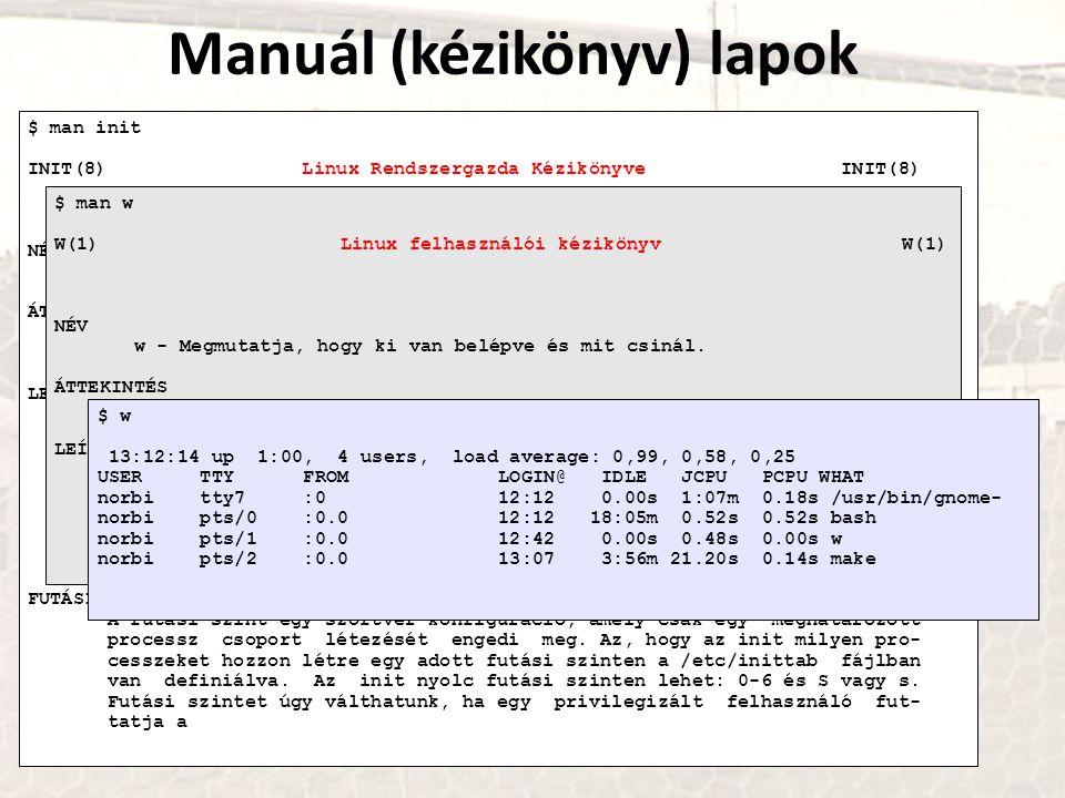 Manuál (kézikönyv) lapok $ man init INIT(8) Linux Rendszergazda Kézikönyve INIT(8) NÉV init, telinit - processz vezérlés inicializálása ÁTTEKINTÉS /sb