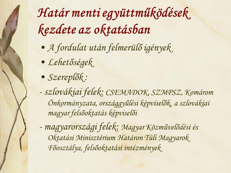 Határ menti együttműködések kezdete az oktatásban A fordulat után felmerülő igények Lehetőségek Szereplők : - szlovákiai felek: CSEMADOK, SZMPSZ, Komárom Önkormányzata, országgyűlési képviselők, a szlovákiai magyar felsőoktatás képviselői - magyarországi felek: Magyar Közművelődési és Oktatási Minisztérium Határon Túli Magyarok Főosztálya, felsőoktatási intézmények