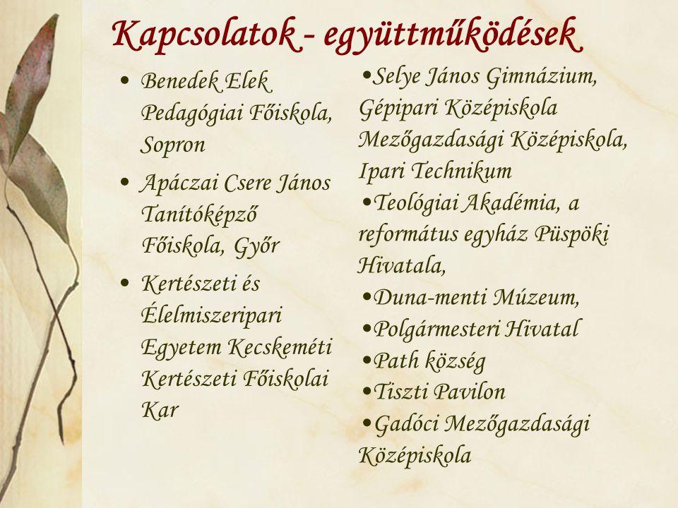 Kapcsolatok - együttműködések Benedek Elek Pedagógiai Főiskola, Sopron Apáczai Csere János Tanítóképző Főiskola, Győr Kertészeti és Élelmiszeripari Eg